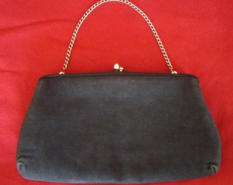 Vintage Clutch Handbag, Black Silk, Convertible, Formal, Evening Bag, Purse by HL Harry Levine, Women's Ladies Accessories