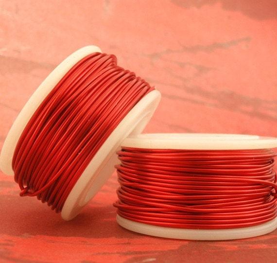 SPRING Sale 32 gauge Red Wire - 300 Feet Spool - Enameled Coated Copper - 91 Meters 100% Guarantee