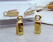 SilverSilk 3 mm Gold Plated Brass Single End Cap Closure, One Pair