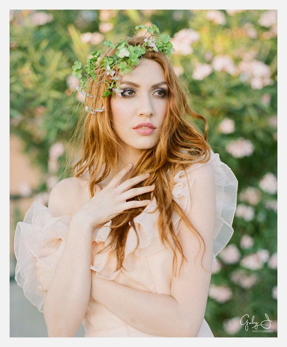 Boho floral head piece, clover hair wreath, fairy headband  - Brianna - bridal hair accessories