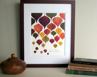 Pressed leaf print, 11x14 double matted, Chinese Tallow tree leaves, bright fall colors, botanical print, wall decor no. 0016