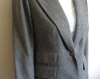 Vintage Women's 80's Evan-Picone, Blazer, Fully Lined, Wool, Grey, Jacket (S/M)