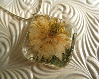 Ivory Love In The Mist Domed Square Glass Pressed Flower Pendant-Nature's Wearable Art-Gifts Under 30-Symbolizes Love, Affection