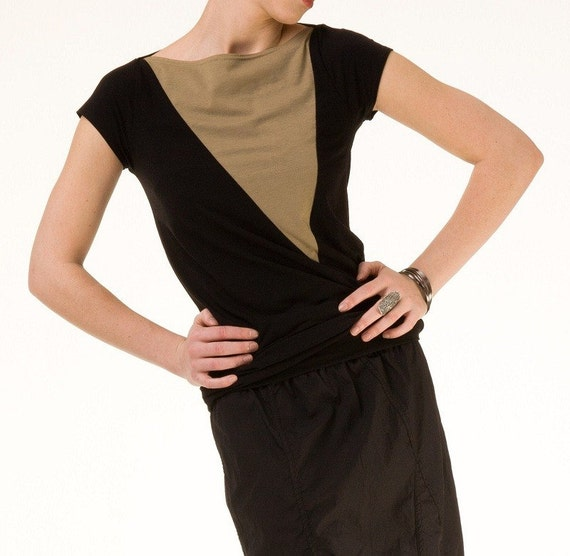 Size xs/small- Modern Top Bamboo Organic Cotton Jersey Black with Olive, short sleeves, eco fashion