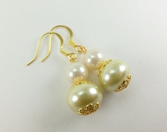 Bridesmaids Earrings Pearl Earrings Butter Cream Gold Jewelry Affordable Wedding Jewelry