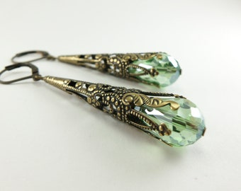 Peridot Earrings Long Dangle Earrings Brass Jewelry August Birthstone
