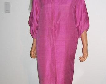 Vintage BOHO Hippie Caftan Dress. 1970's Raspberry silk Maxi Dress with Silver trim at neckline.