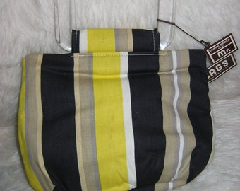 Vintage MOD tote BAG, handbag, 1960's.  Purse by Mr Bags. New old stock.  Lucite handles.  Yellow, black & beige.