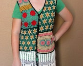 Upcycled Crocheted Long Vest - Boho Multicolor Lace