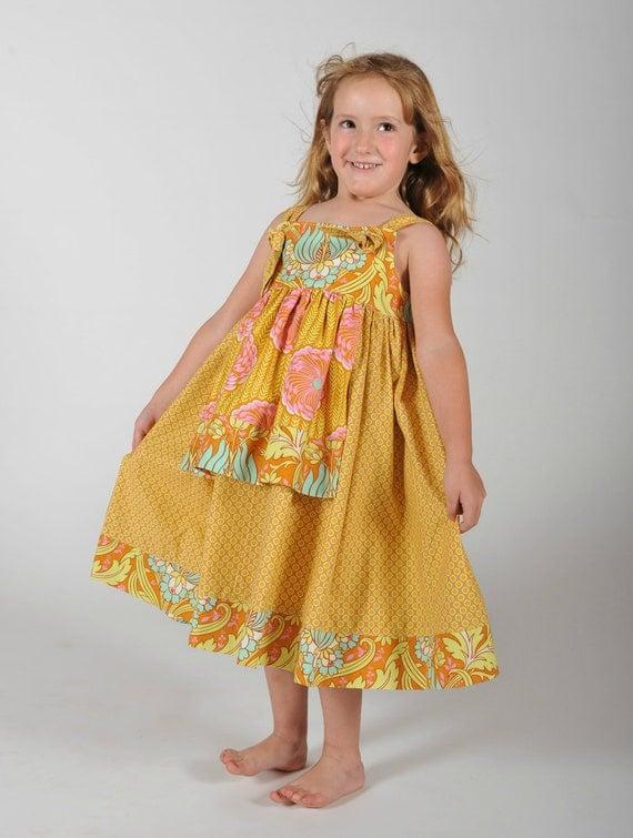 Girls Apron Dress Summer Dress Petal Knot Dress Children