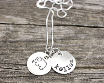 Elephant necklace, name necklace, hand stamped jewelry, christmas gift, gift for women, personalized gift, elephant jewelry, sterling silver