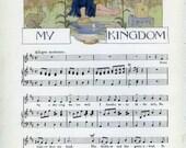 1915, Nursery Room Decor, My Kingdom, Margaret Tarrant, Music Wall Decor, Garden of Verses, Robert Louis Stevenson,  Frameable Art