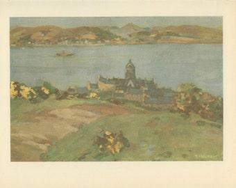 Scotland, Gourock from Tower Hill, Vintage Print, 1952,  Margaret Wright, Britain World War 2, (79) War Artist, WW2