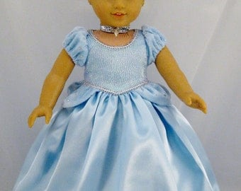 American Girl Sized Cinderella Princess Gown With Crown and Necklace