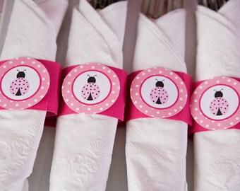 Napkin Rings - Silverware Wraps - Ladybug Theme - Ladybug Party Decorations in Hot & Light Pink (12)