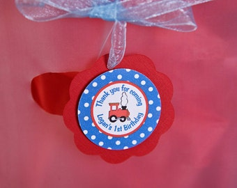 Train Theme Favor Tags - Train Birthday Party Decorations - Gift Tags, Hang Tags, Thank You Tags in  in Blue & Red