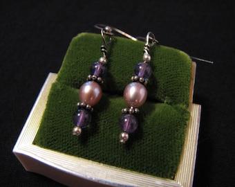 Vintage Sterling Silver Purple Amethyst and Pink Glass Pearl Beaded Dangle Pierced Earrings
