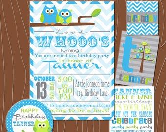 Custom Owl Birthday Party  Printable Kit
