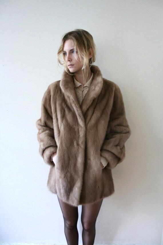 Vintage 80s Bohemian Fur Coat // Light Brown Mink by vauxvintage