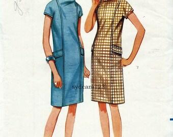 Vintage 1967 Sheath Dress Funnel Collar Princess Seams Back Belt...Butterick 4325 Bust 36