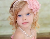 Light Pink Flower Headband, Light Pink Chiffon Rose Pink Floral Headband or Hair Clip, The Emma, Flower Girl, Baby Child Girls Headband