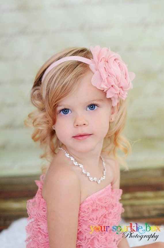 Light Pink Flower Headband, Light Pink Chiffon Rose Pink Floral Headband or Hair Clip, The Emma, Flower Girl, Baby Child Girls Headband