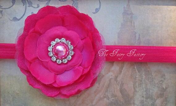 Hot Pink Flower Headband - Flower w/ Pearl & Crystal Center Headband or Hair Clip, The Hallie, Baby Child Girls HeadbandGirls Headband