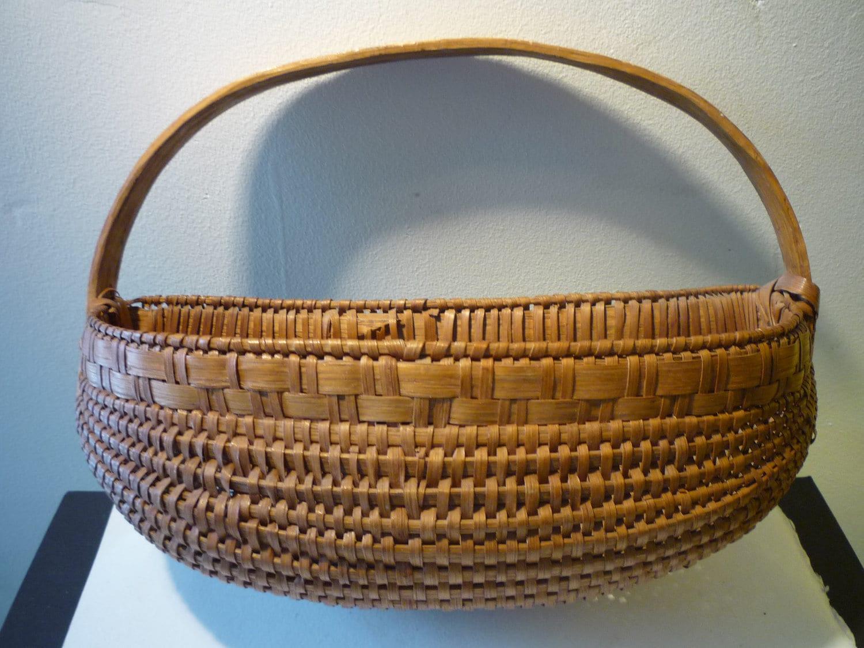 Old Handmade Baskets : Vintage handmade basket flat hanging s by jvoyage