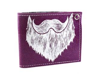On Sale - Weird Beard Billfold Wallet - Purple Metal Flake - Beardo Approved