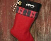 Burnt Berry Red Cabin Plaid  Wool Christmas Stockings with Monogrammed Names