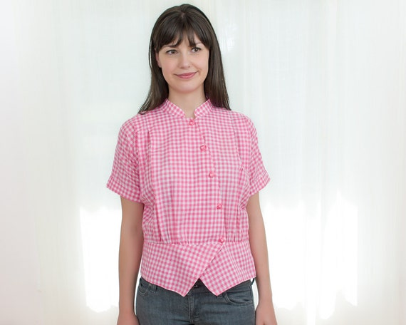 Reserved - Pink and White Gingham Blouse - Vintage Cotton Blouse with Asymmetric Angled Buttons - L
