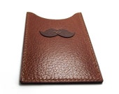 Mustache Pocket Wallet, Cognac Brown Leather Card Case, MO, Movember, Prostate Cancer Awareness - sakao