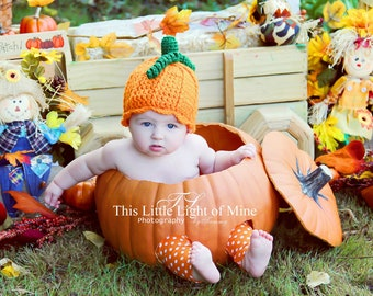 Pumpkin Patch Outfit - Newborn Halloween Costume - Pumpkin Hat - Baby Costume - Newborn Pumpkin Halloween Costume - Pumpkin Costume