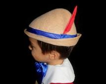 Pinocchio Hat Tyrolean Alpine Style hat tan wool felt feather plume