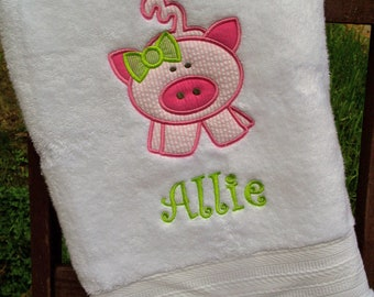 Monogrammed Kids Bath Towel with Pig Applique -  perfect for the beach, bath or pool