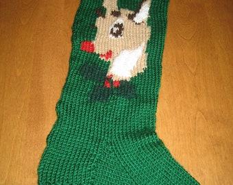 Christmas  Reindeer Stocking, Christmas Stocking Knit, Personalized Christmas Stocking