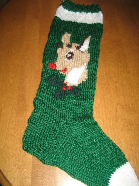 Knit Christmas Stocking Pattern With Name : Christmas Reindeer Stocking Christmas Stocking Knit