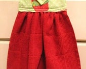 Hanging Kitchen Towel--Christmas Cupcakes Red