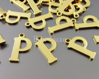 4 gold letter charms in initial P | craft supplies for personalized jewelry  1907-BG-P