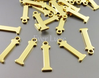 4 Letter I charms for personalized jewelry, jewelry name charms for jewelry making inital necklaces 1907-BG-I (bright gold, I, 4 pieces)