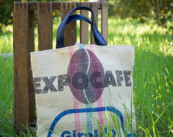 Repurposed Colombian Coffee Sack Tote - Designer Import - Extra Large - Beach Bag - Vacation