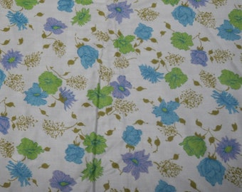 1960s Polished Cotton Fabric Chartreuse and Periwinkle Flowers By the Yard