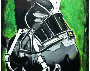 JEREMY WORST Atlanta Falcons Painting Fine Art Print Artwork helmet nfl football helmet player sports
