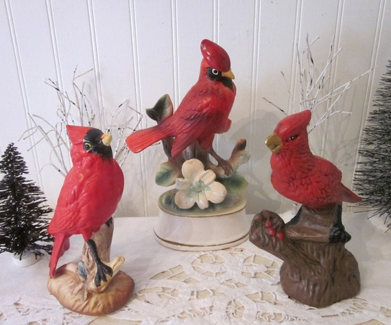 3 Vintage Cardinal Bird Statues Figurines Red Instant