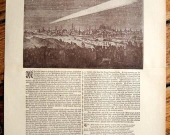 1900 COMET original antique celestial astronomy print