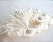 Deco Rhinestone Feather Garter Set, Silk Narrow Garters Ivory, Diamond White bridal keepsake toss/throw garter Aer Deco Wedding Garter