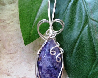 Charoite Teardrop Silver Wire Wrapped Pendant