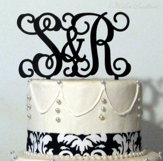 Vine Initials Monogram Cake Topper For Wedding By MilanCreations