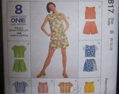 Womens Sewing Pattern - Top & Skort Above Knee Length - McCalls 8817 - Size 8 10 12- Buy 2 Get 1 FREE Sale