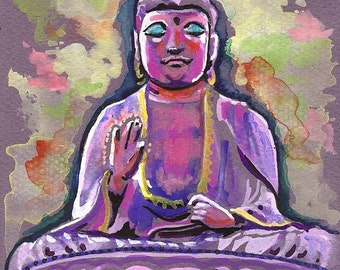 Peaceful Buddha-- Watercolor Painting Print, Artist-Signed